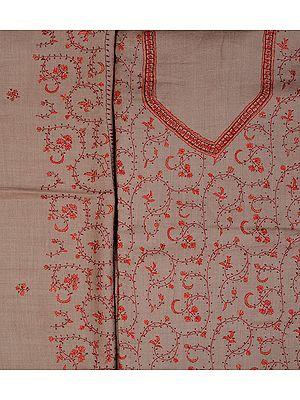 Taupe Salwar Kameez Fabric from Kashmir with Sozni Embroidered Booties by Hand