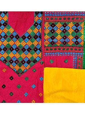 Fuchsia-Rose and Yellow Phulkari Hand-Embroidered Salwar Kameez Fabric from Punjab
