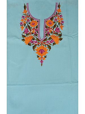 Plume-Color Two-Piece Salwar Kameez Fabric from Kashmir with Ari Hand-Embroidery on Neck