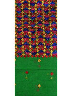 Vibrant-Green Phulkari Embroidered Salwar Kameez Fabric From Punjab with Sequins