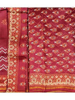 Red-Plum Chanderi Salwar Kameez Fabric with Block-Printed Bootis