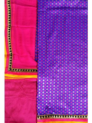 Purple and Pink Banarasi Salwar Kameez Fabric with Woven Bootis and Patch Border