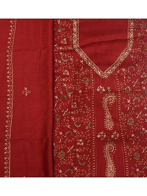 Rosewood Tusha Salwar Kameez Fabric from Kashmir with Needle-Embroidery by Hand