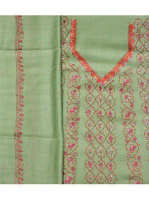 Fair-Green Sozni Hand-Embroidered Salwar Kameez Fabric from Kashmir