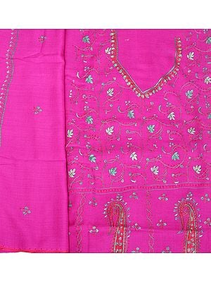 Raspberry-Rose Tusha Salwar Kameez Fabric from Kashmir with Sozni Embroidery by Hand
