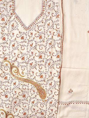 Whisper-White Tusha Salwar Kameez Fabric from Kashmir with Needle Hand-Embroidery All-Over