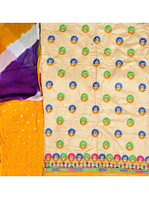 Salwar Kameez Fabric from Gujarat with Embroidered Bootis and Bandhani Dupatta