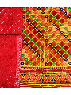 Yellow and Red Salwar Kameez Fabric from Gujarat with Embroidery All-Over and Bandhani Dupatta