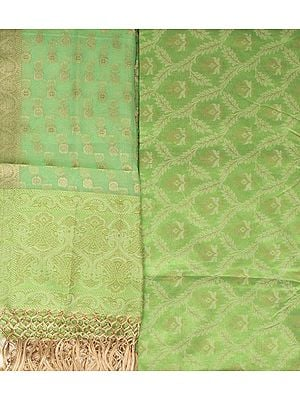 Kora Salwar Kameez Fabric from Banaras with Woven Leaves All-Over