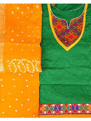 Green and Yellow Salwar Kameez Fabric from Gujarat with Embroidered Patch and Self Embroidery