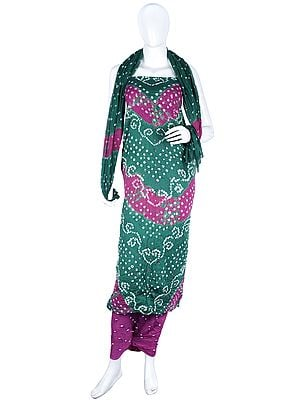 Bandhani Tie-Dye Salwar Kameez Fabric from Gujarat