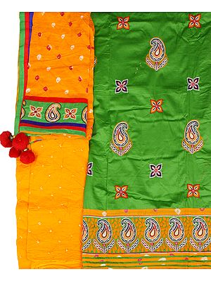 Green and Yellow Salwar Kameez Fabric from Gujarat with Embroidered Paisleys and Bandhani Dupatta