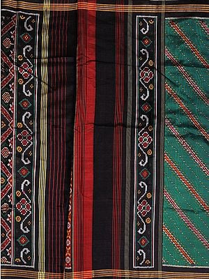 Green and Black Patan Patola Salwar Kameez Fabric from Gujarat with Ikat Weave