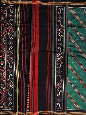Green and Black Patan Patola Salwar Kameez Fabric from Gujarat with Ikat Weave