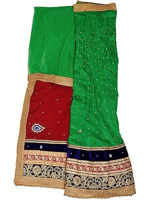 Fern-Green and Maroon Lehenga Choli Fabric with Embroidered Velvet Patch Border and Bootis