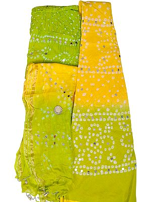 Bandhani Tie-Dye Lehenga Choli Fabric from Jaipur with Large Sequins and Hanging Shells on Dupatta