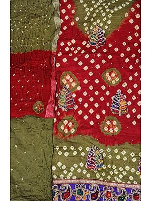 Bandhani Tie-Dye Double-Shaded Salwar Kameez Fabric from Gujarat with Embroidered Leaves