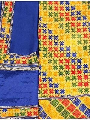 Yellow and Blue Phulkari Hand-Embroidered Salwar Kameez Fabric from Punjab with Sequins and Gota Lace
