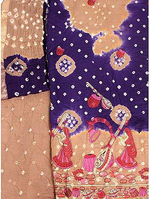 Bandhani Tie-Dye Salwar Kameez Fabric from Gujarat with Embroidered Musical Instruments