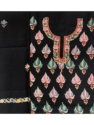 Phantom-Black Salwar Kameez Fabric from Kashmir with Ari Hand-Embroidered Maple Leaves