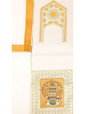 Papyrus and Golden Kasavu Salwar Kameez Fabric from Kerala with Embroidered Kathakali Applique and Sequins