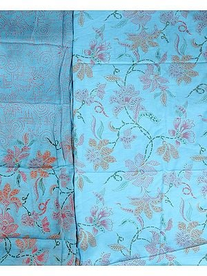 Cyan-Blue Floral Printed Salwar Kameez Fabric