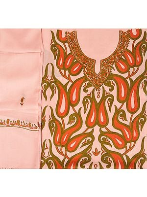 Seashell-Pink Salwar Kameez Fabric from Kashmir with Ari-Embroidered Paisleys by Hand