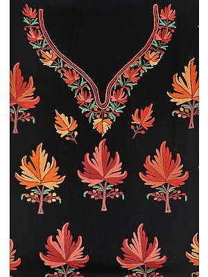 Jet-Black Two-Piece Salwar Kameez Fabric from Kashmir with Ari Hand-Embroidered Maple Leaves