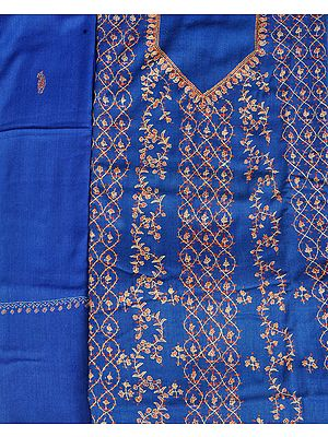 Classic-Blue Tusha Salwar Kameez Fabric from Kashmir with Sozni-Embroidery by Hand