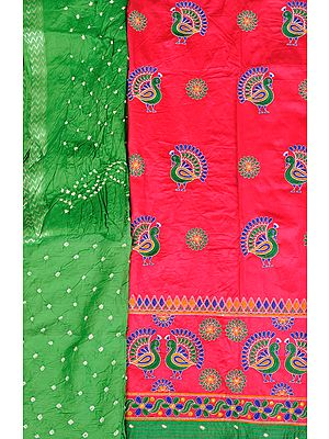 Salwar Kameez Fabric from Gujarat with Embroidered Peacocks