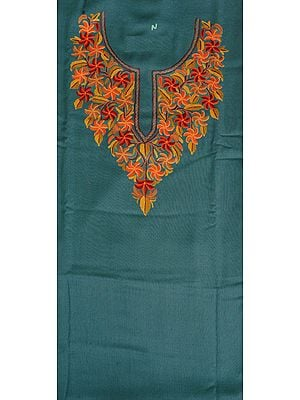 Oil-Blue Two-Piece Salwar Kameez Fabric from Kashmir with Ari Hand-Embroidered Flowers on Neck