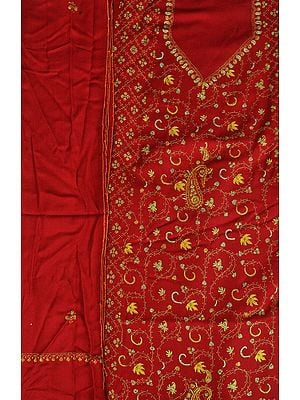 Garnet-Red Tusha Salwar Kameez Fabric from Kashmir with Sozni Hand-Embroidery All-Over