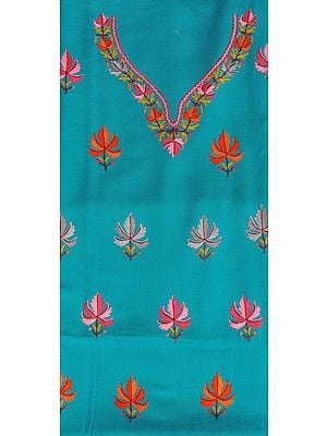 Tile-Blue Two-Piece Salwar Kameez Fabric from Kashmir with Ari Hand-Embroidered Chinar Leaves