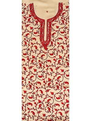 Cream and Red Two-Piece Salwar Kameez Fabric from Kashmir with Ari Hand-Embroidered Paisleys