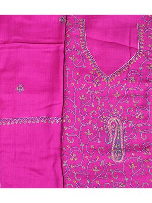 Raspberry-Rose Sozni Hand-Embroidered Tusha Salwar Kameez Fabric from Kashmir