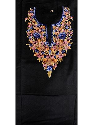 Jet-Black Two-Piece Salwar Kameez Fabric from Kashmir with Floral Hand-Embroidery on Neck