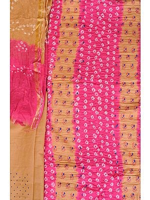 Bandhani Tie-Dye Salwar Kameez Fabric from Gujarat with Printed Bootis