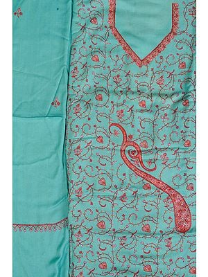 Ocean-Wave Tusha Salwar Kameez Fabric from Kashmir with Sozni Hand-Embroidery All-Over