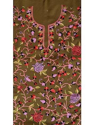 Gothic-Olive Two-Piece Salwar Kameez Fabric from Kashmir with Floral Embroidery by Hand