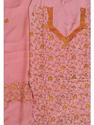 Powder-Pink Salwar Kameez Fabric from Kashmir with Sozni Hand-Embroidered Maple Leaves