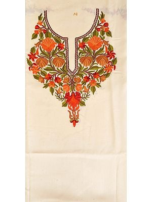 Ivory Two-Piece Salwar Kameez Fabric from Kashmir with Ari Hand-Embroidery on Neck