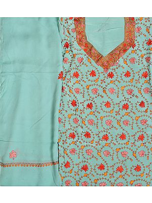 Dusty-Aqua Salwar Kameez Fabric from Kashmir with Sozni Hand-Embroidered Maple Leaves