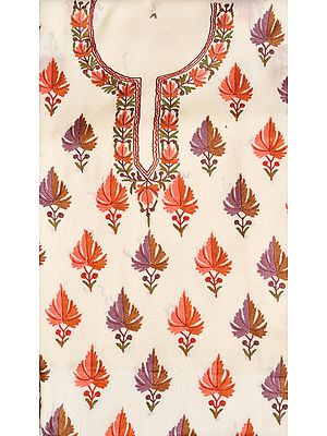 Ivory Two-Piece Salwar Kameez Fabric from Kashmir with Ari Hand-Embroidered Maple Leaves