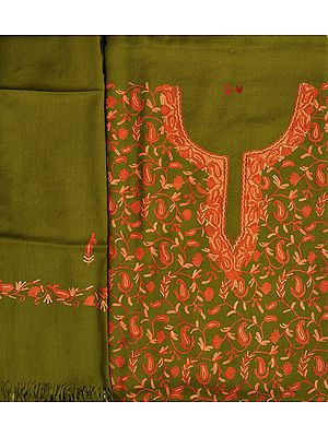 Lizard-Green Salwar Kameez Fabric from Kashmir with Ari Hand-Embroidered Paisleys All-Over