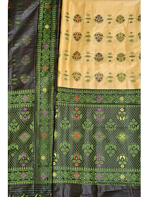 Italian-Straw and Black Suit Fabric with Dupatta from Assam with Woven Bootis