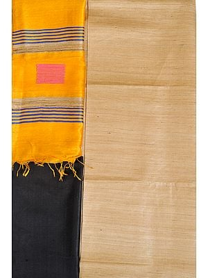 Marzipan and Black Plain Salwar Kameez Fabric with Stripes on Dupatta