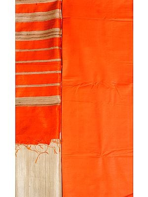 Orange and Beige Plain Salwar Kameez Fabric with Striped Dupatta