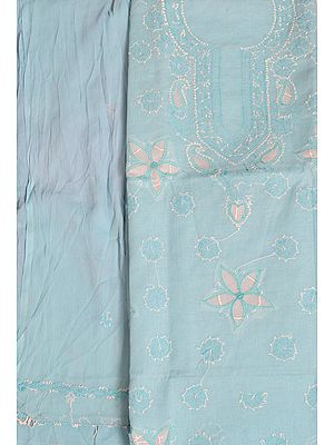 Sky-Blue Salwar Kameez Fabric with Lukhnawi Chikan Hand-Embroidery and Flowers