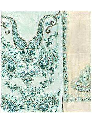 Moonlight-Jade Salwar Kameez Fabric From Kashmir with Ari Hand Embroidered Paisleys and Beads