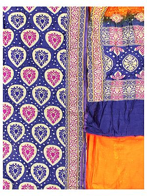Marzipan-Blue and Nectarine Bandhani Tie-Dye Salwar Kameez Fabric from Gujarat with Woven Bootis